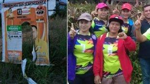 APK yang dirusak orang tak dikenal (kiri), dan dukungan warga terhadap Liri Muri (kanan) di Sekadau, Kalimantan Barat, 1/3/2019 (dok. KM)