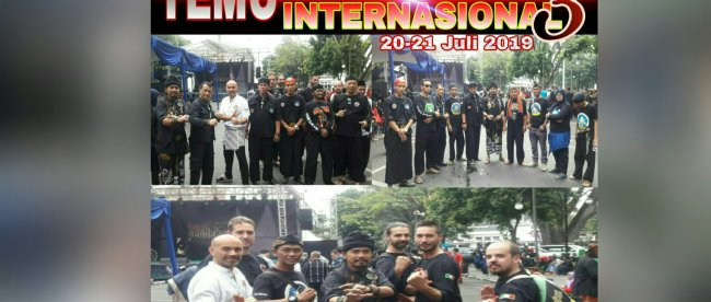 Para pesilat yang mengikuti acara Temu Pendekar Internasional III di Kota Bandung, Sabtu 20/7/2019 (Foto: Istimewa)