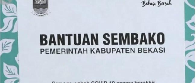 Bantuan sembako bagi warga terdampak covid-19 dari Pemkab Bekasi