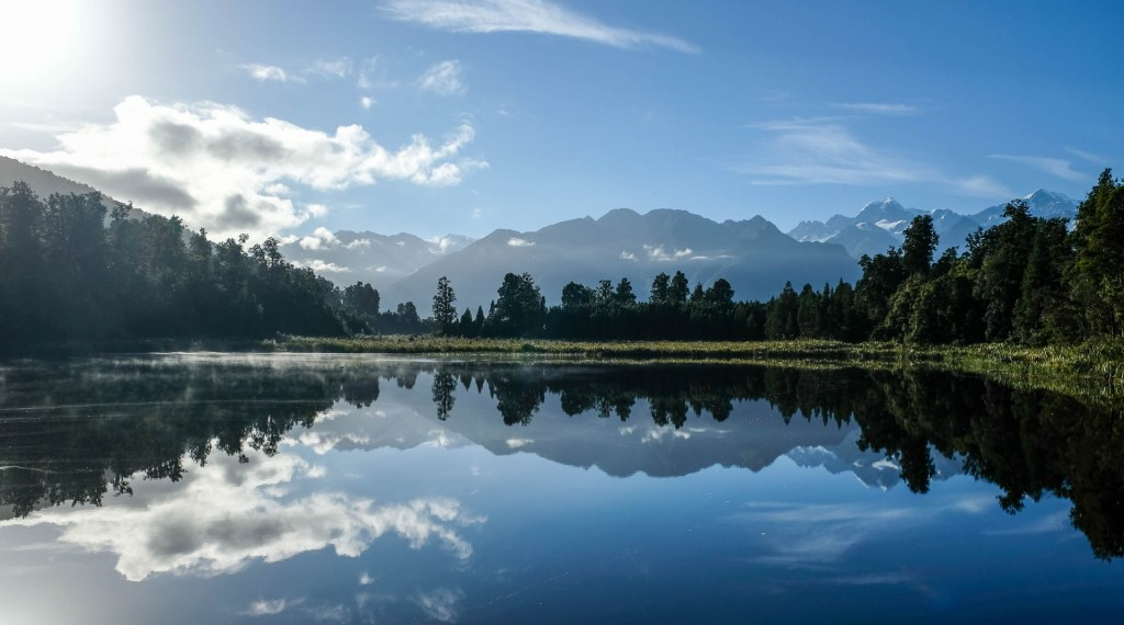 Jetty Viewpoint Reflektion Am Lake Matheson