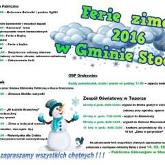 Ferie zimowe 2016 w Gminie Stoczek