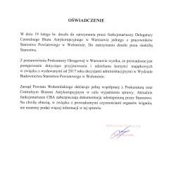 OŚWIADCZENIE ws. dzisiejszych działań Prokuratury Okręgowej w Warszawie oraz Delegatury Centralnego Biura Antykorupcyjnego w Warszawie w Starostwie Powiatowym w Wołominie
