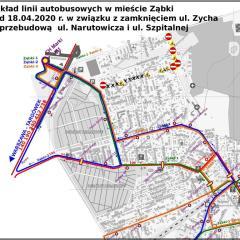 ZMIANA TRAS LINII Ząbki-1 i Ząbki -3 od 18 kwietnia w związku z budową ul. Narutowicza
