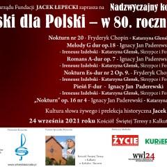 Nadzwyczajny koncert Paderewski dla Polski – w 80. rocznicę śmierci.