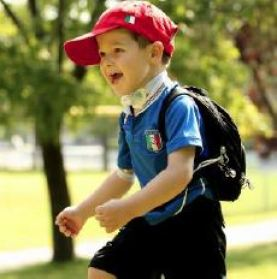 Stefano Ruvo spent the first year of his life in the Children's Neonatal Intensive Care Unit. He can now attend school with his sisters thanks to the trilogy portable ventilator that he keeps in his special backpack.
