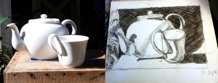still life drawing by private art student tea pot and cup