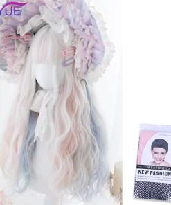 Kawaii White Blue & Pink Wavy Lolita Wig