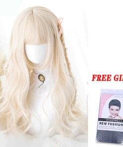 Kawaii Wavy Blonde Wig with Bangs