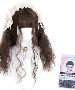 Kawaii Wavy Brunette Lolita Wig with Bangs