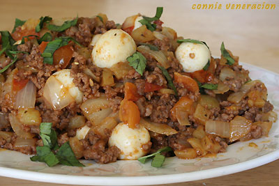 Ground Beef And Quail Eggs Recipe