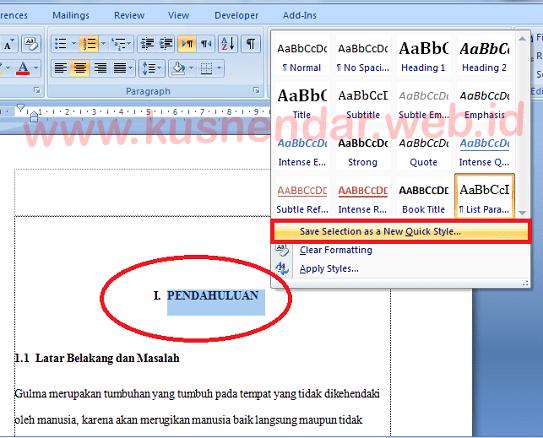 Tutorial Membuat Daftar Isi Otomatis Di Word 100 Berhasil Kusnendar