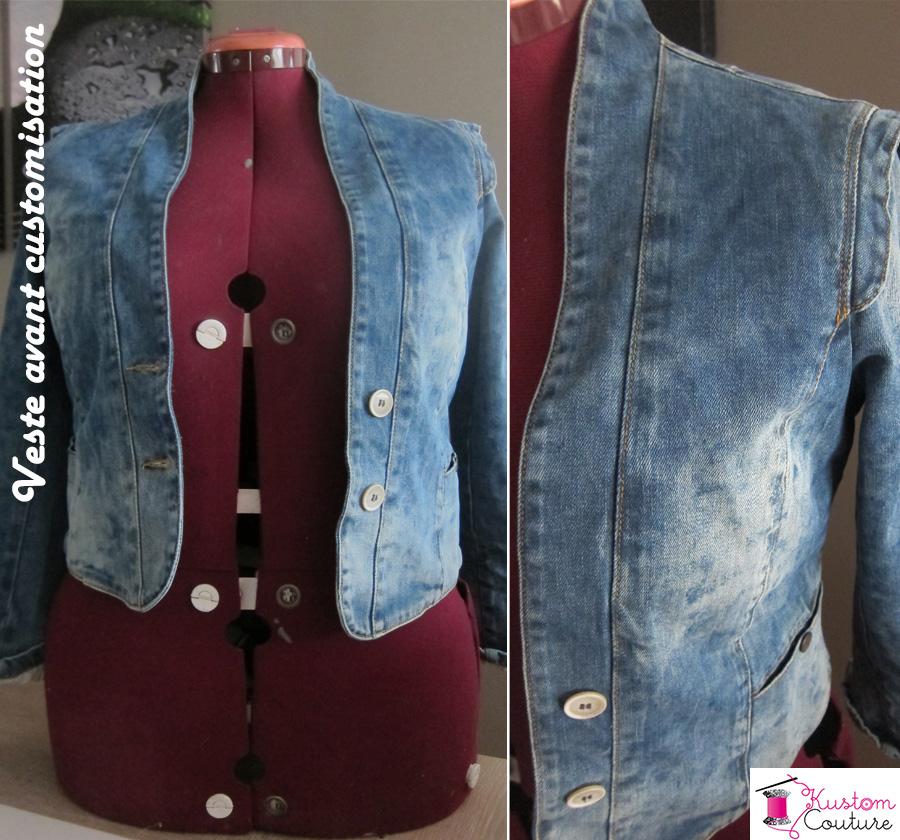 Veste en jean avant customisation | Kustom Couture