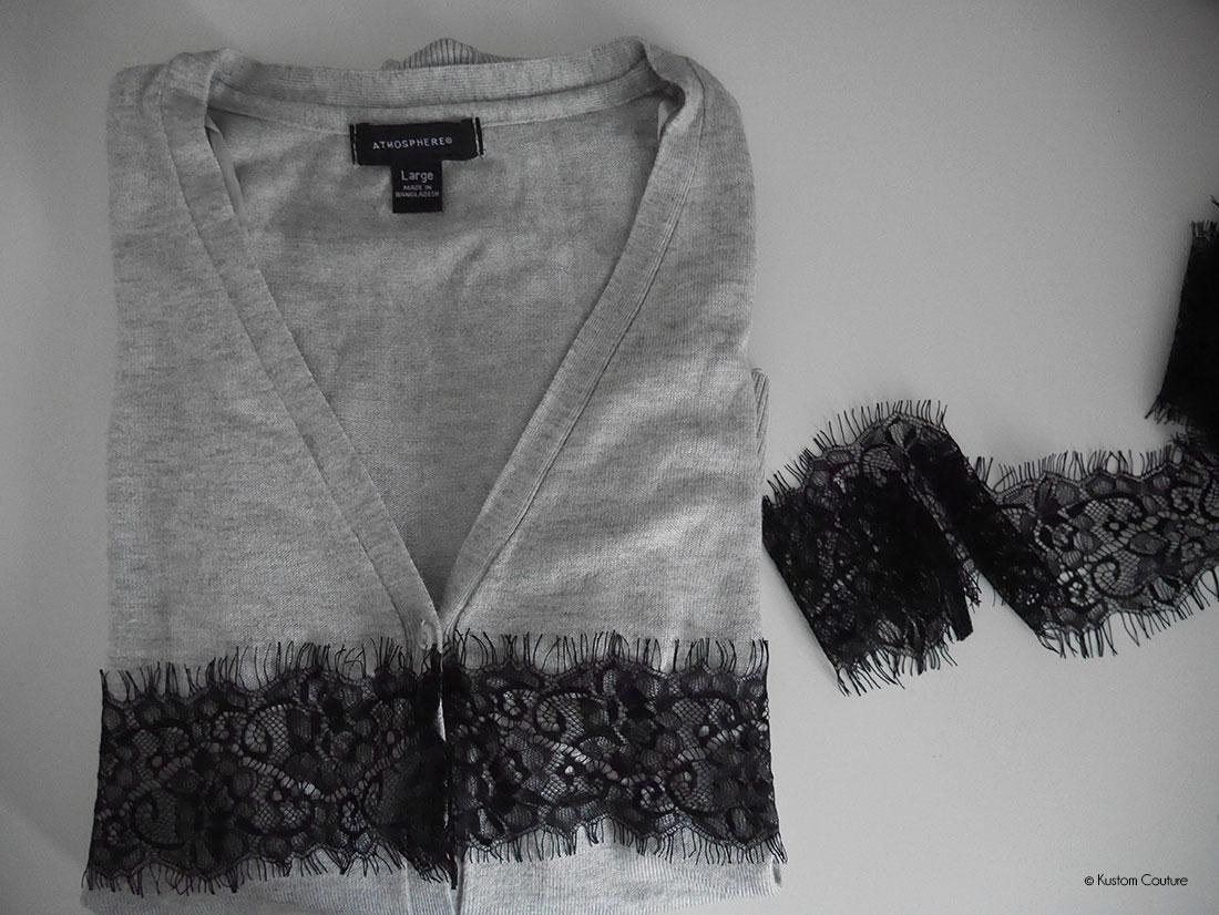 Customisation d'un gilet basique avec de la dentelle | Kustom Couture
