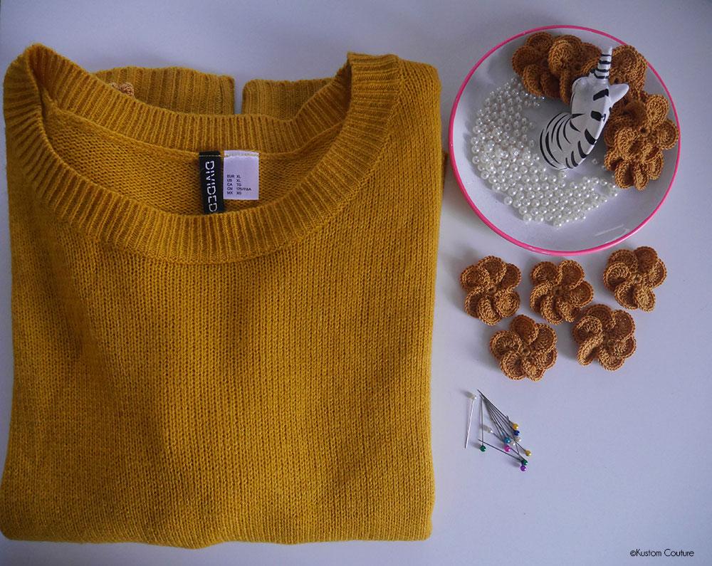 Customisation d'un pull avec des fleurs au crochet | Kustom Couture