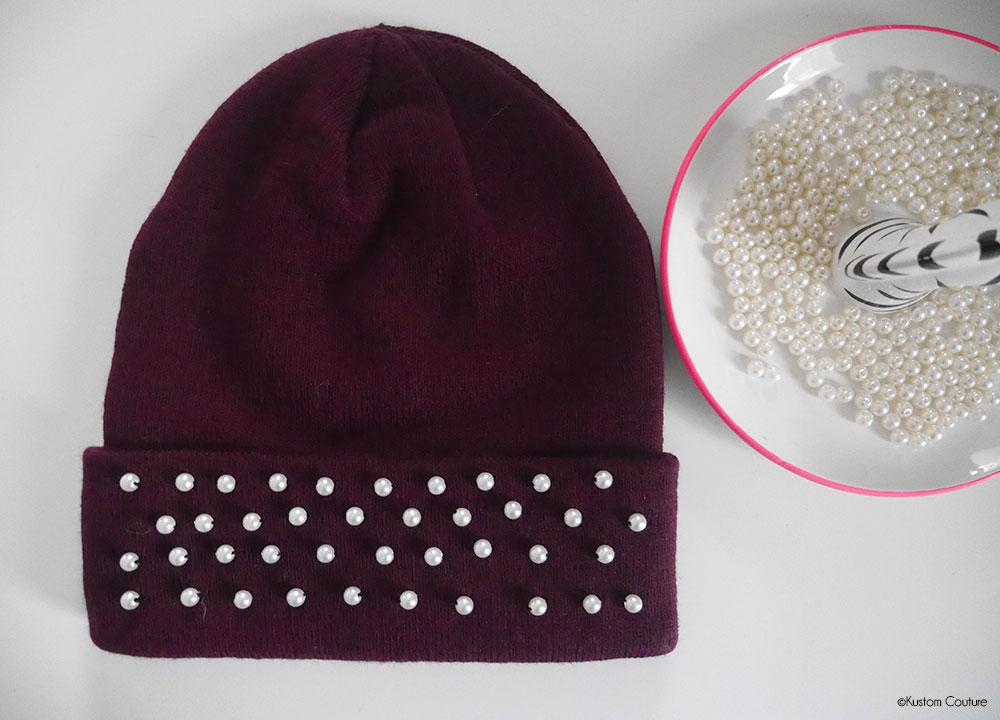 Customiser un bonnet basique avec des perles | Kustom Couture