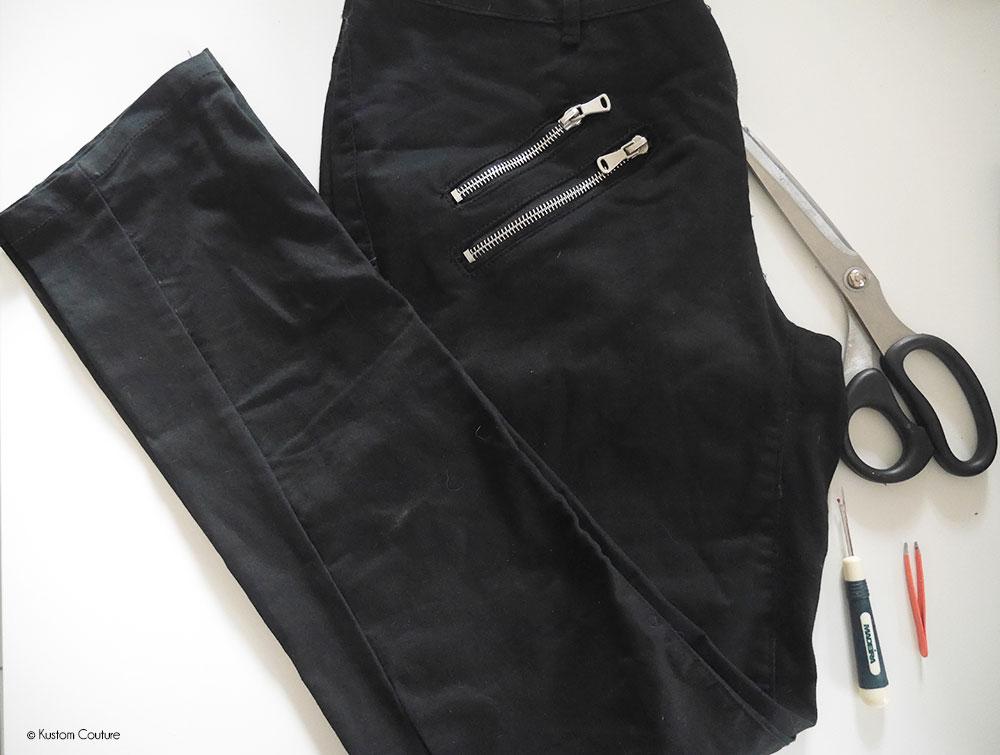 Customiser le bas d'un pantalon noir   Kustom Couture