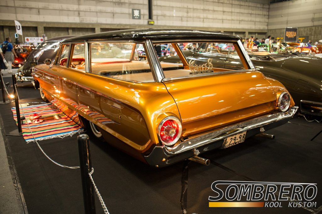 1964 Ford Country Squire Kustom Station Wagon, wire wheels, shaved door handles, tuck'n'roll, Chiefs Car Club