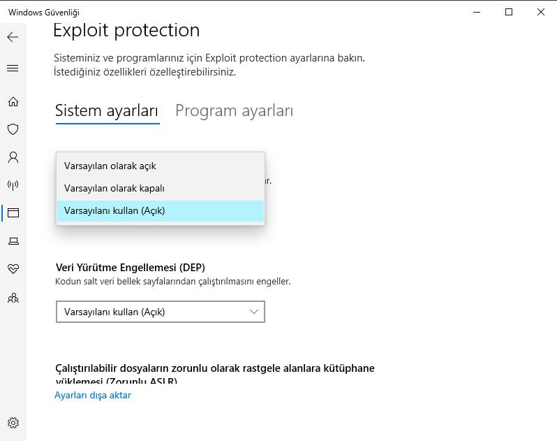 Windows Cfg ayarı Programa özel Cfg kapatma 3