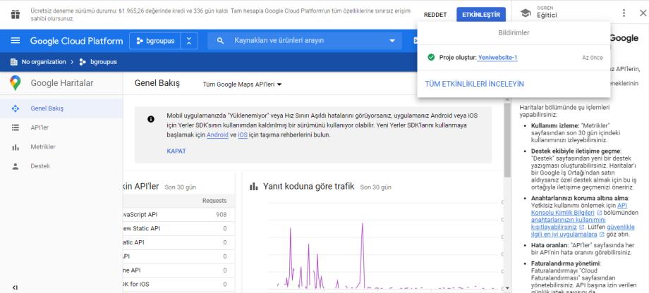 Google harita java script api kodu Proje oluşturma
