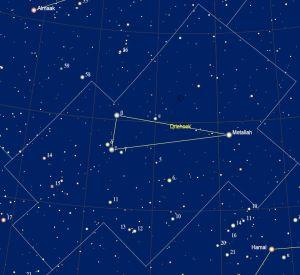 het sterrenbeeld Triangulum - Driehoek met de namen van de sterren