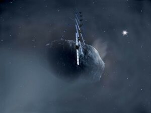 Artist impression van de Rosetta in een baan om Churyumov-Gerasimenko