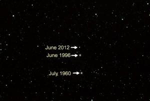 Verplaatsing van de ster van Barnard