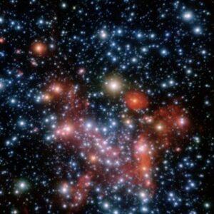 Opname van het centrum van ons sterrenstelsel. Uit de bewegingen van de sterren leidt men af dat er een supermassief zwart gat aanwezig moet zijn.