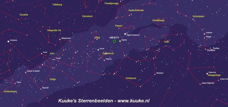 De locatie van HR 5171 in het sterrenbeeld Centaurus
