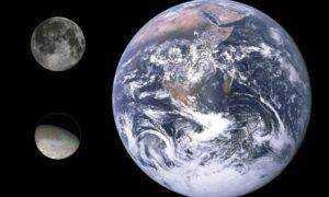 Triton vergeleken met de Maan