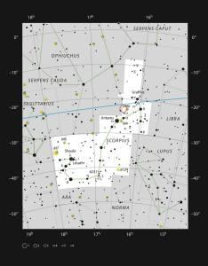 AR Scorpii in het sterrenbeeld Schorpioen