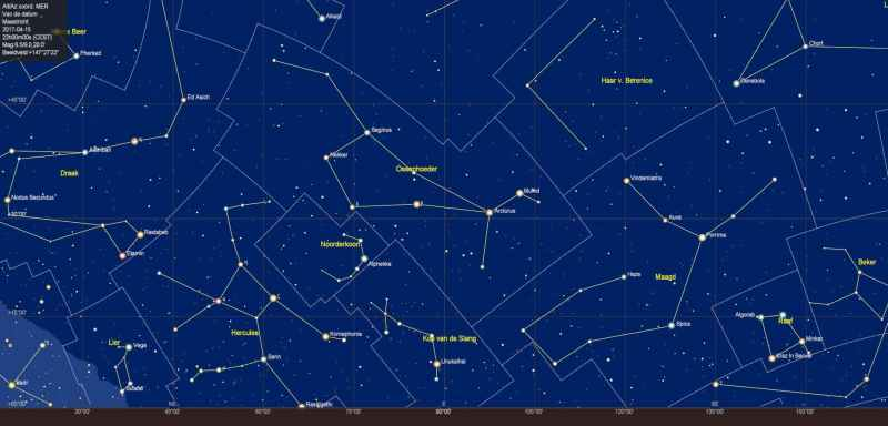 De sterrenhemel boven de oostelijke horizon