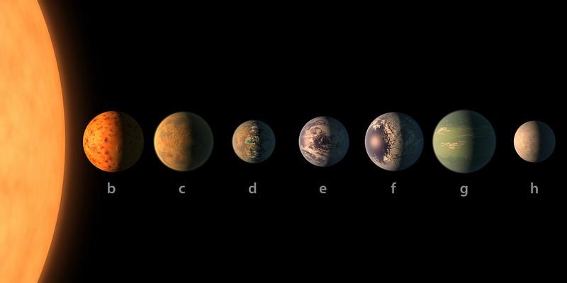 Artist impression van de planeten van TRAPPIST-1