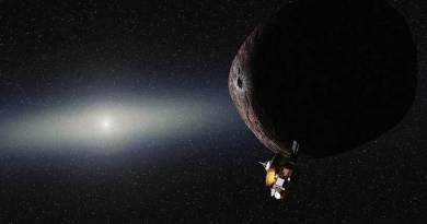 Artist impression van de New Horizons bij 2014 MU69