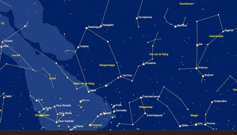 zoekkaart voor het sterrenbeeld Ophiuchus - Slangendrager