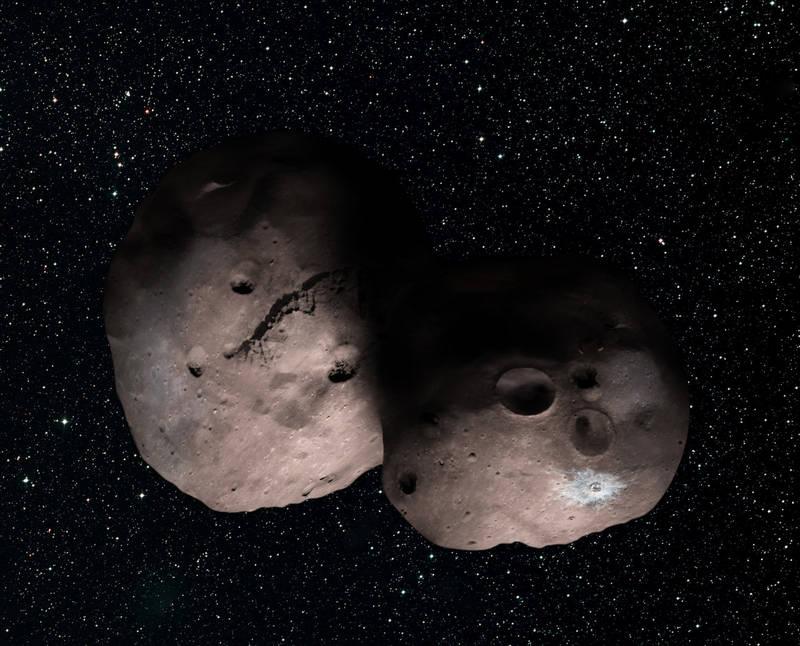 Artist impression van 2014 MU69 inden dit object uit twee verschillende objecten zou bestaan. Credit: NASA/JHUAPL/SwRI/Alex Parker