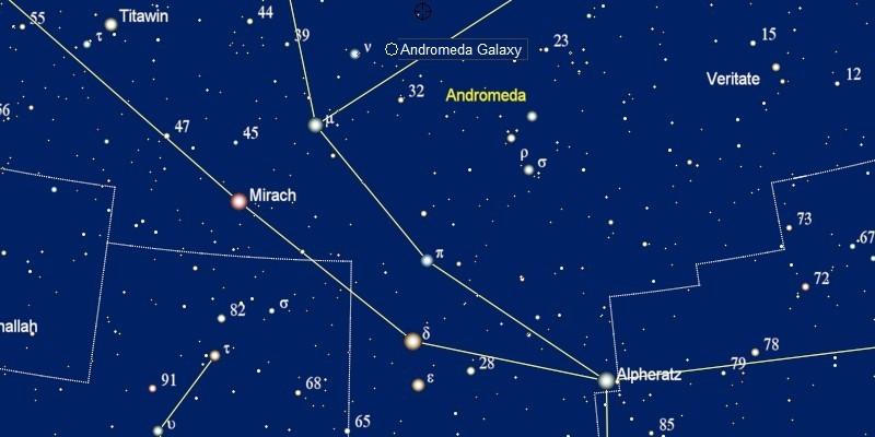 gebruik Alpheratz om de Andromedanevel te vinden