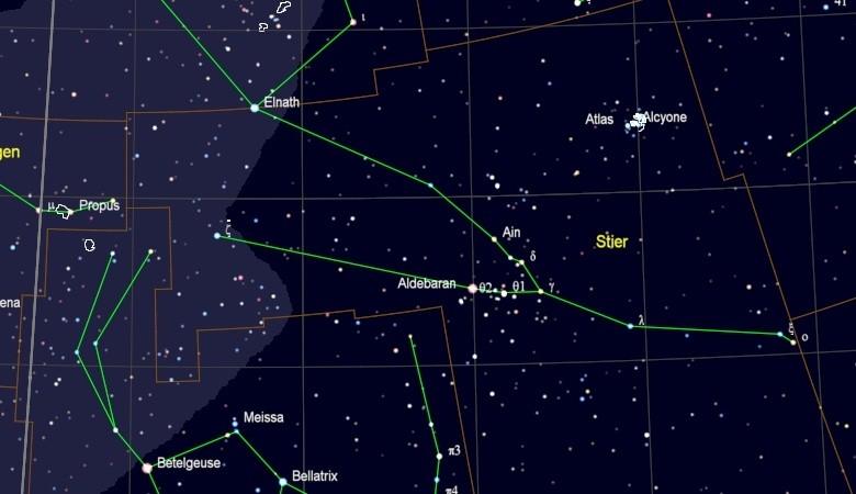 Elnath in het sterrenbeeld Taurus - Stier