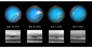 Krimpende storm op Neptunus