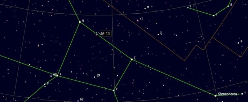 Zoekkaart voor M13 in Hercules