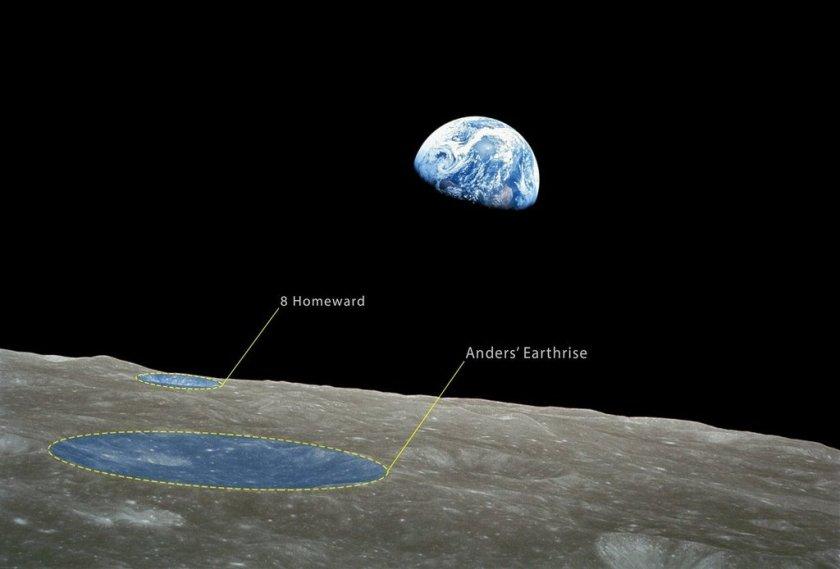 """de """"earthrise"""" foto gemaakt vanuit de Apollo 8"""