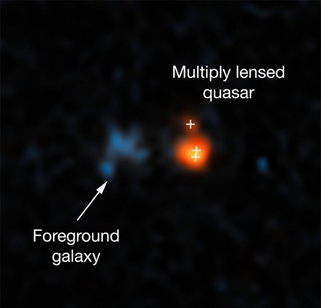 Hubble fotografeert de verre quasar