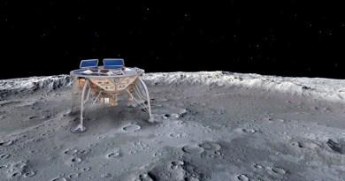 Artist impression Beresheet op de Maan