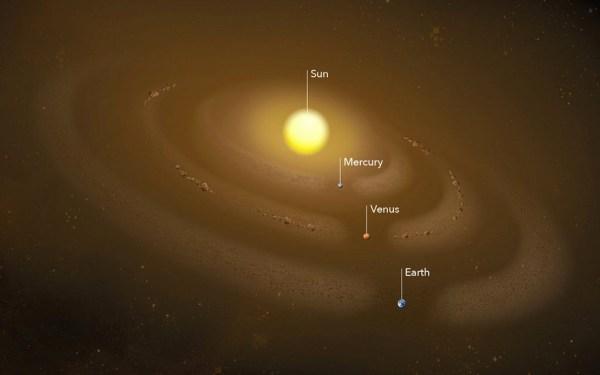 Stofring in de baan van Mercurius
