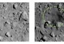 Links: het oppervlak voor de explosie. Rechts: de krater na de explosie. Credit: JAXA