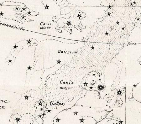 Het sterrenbeeld Unicornu volgens Bartsch