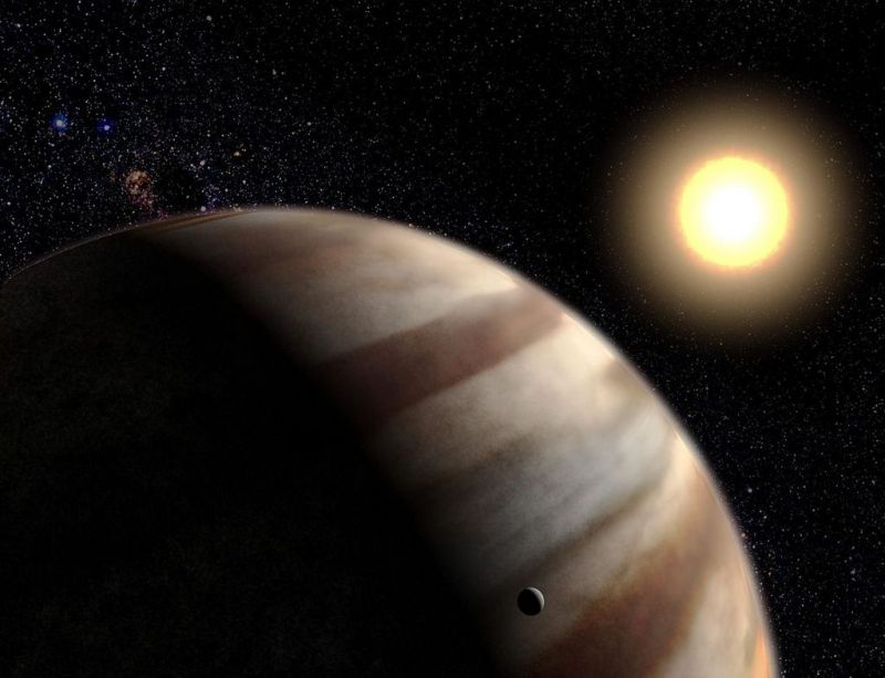 Artist impression van een hete Jupiter bij zijn ster