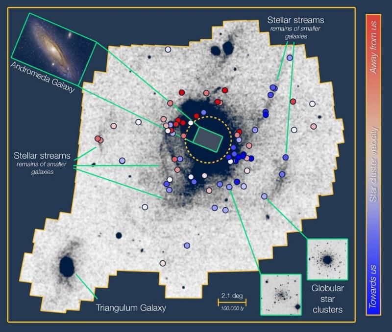 De maaltijdstromen van het Andromeda-stelsel in kaart gebracht
