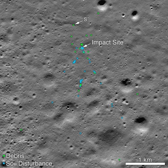 Gemerkte opname van de crshsite van de Vikram lander