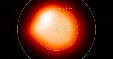 Betelgeuze vergeleken met ons zonnestelsel