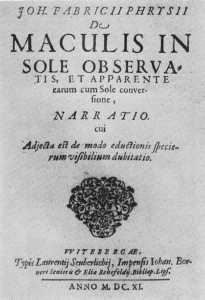 Titelpagina van De Maculis in sole observatis et apparente earum cum Sole conversione, narratio